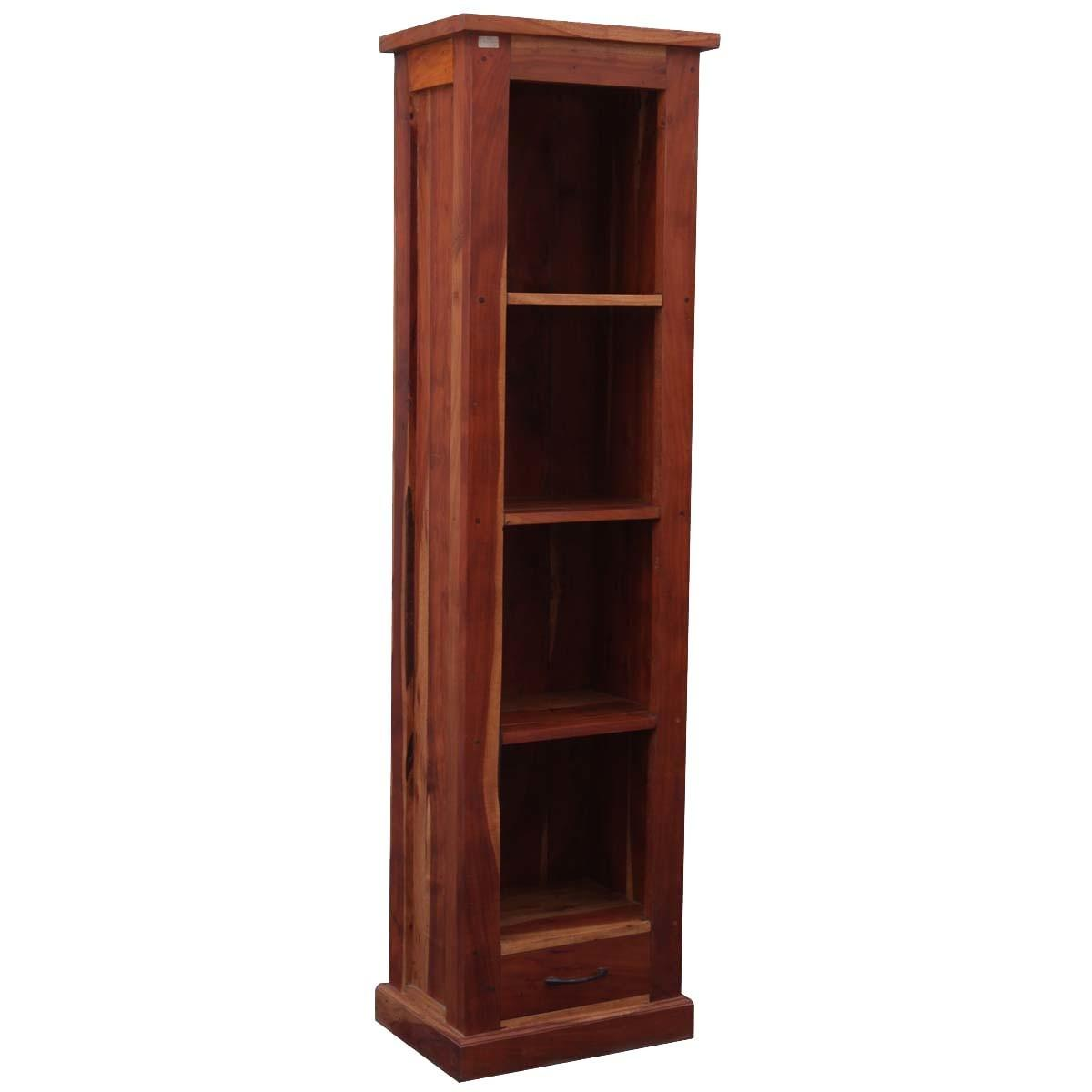 Mission Solid Hardwood Shelf Tower Open Cabinet Bookcase