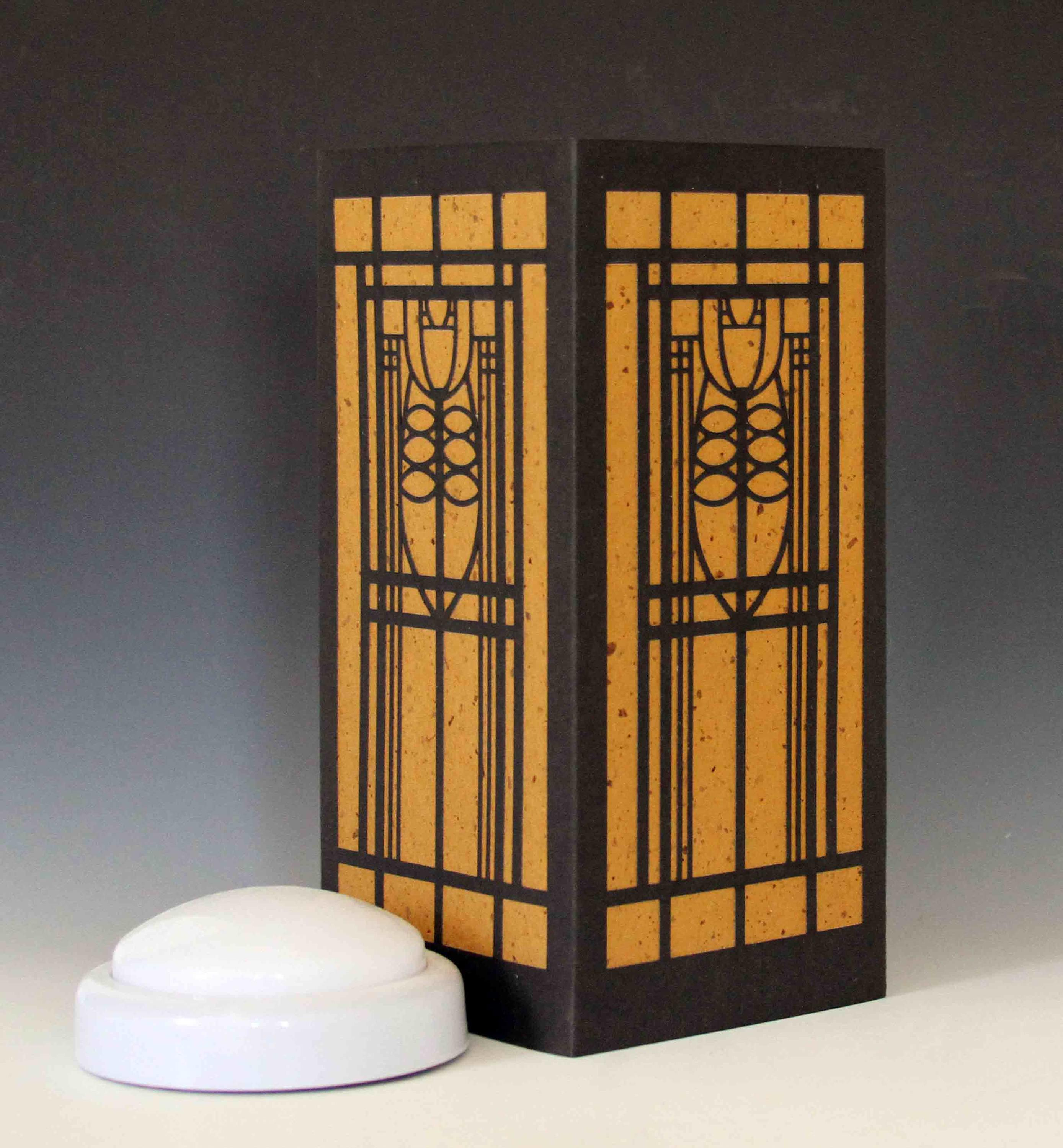 Mission Style Stained Glass Laser Cut Luminary Table Lamp