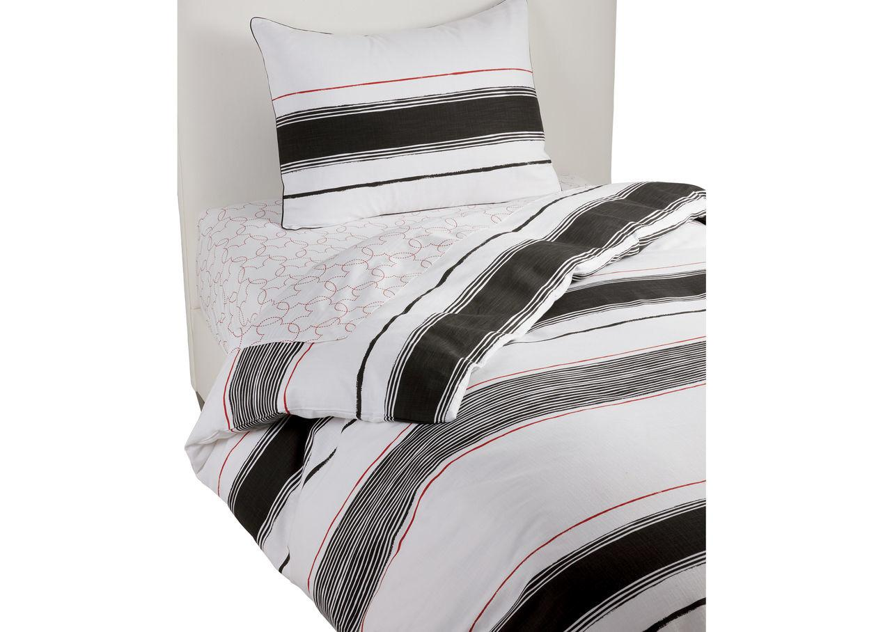 Mixed Stripe Duvet Cover Sham Mickey Ears Black