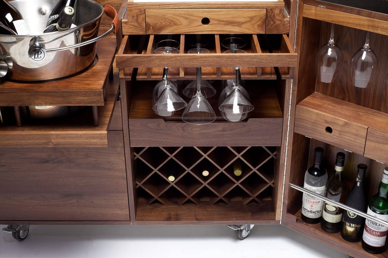 Mobile Bar Wine Cabinet Walnut Stainless Steel