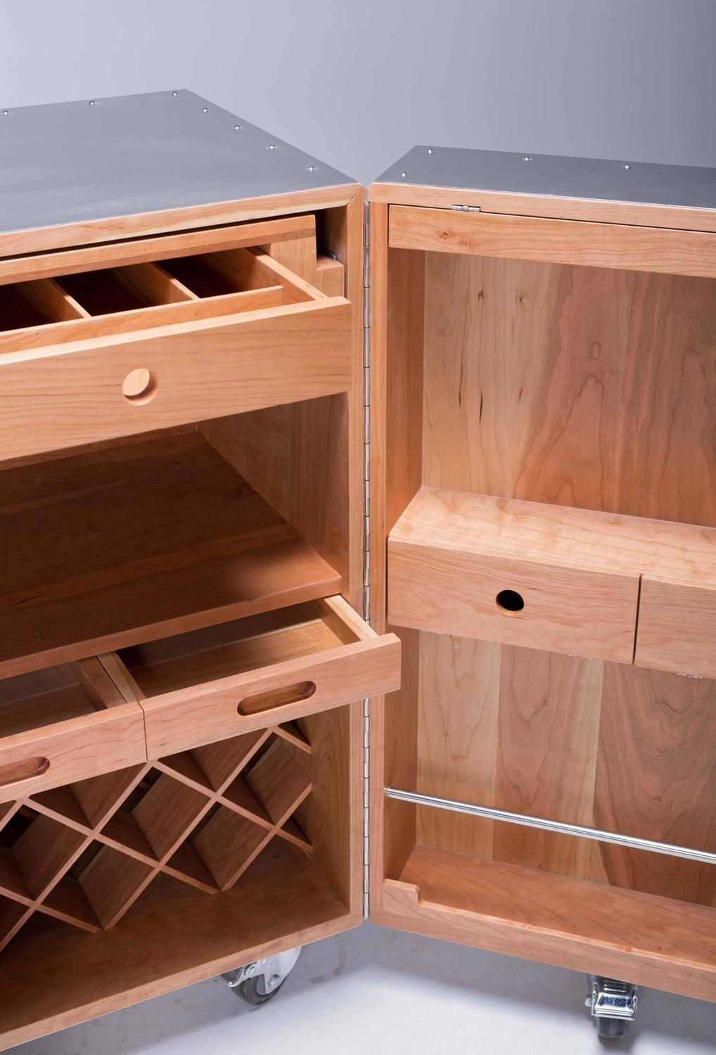 Mobile Expandable Bar Wine Cabinet Cherrywood