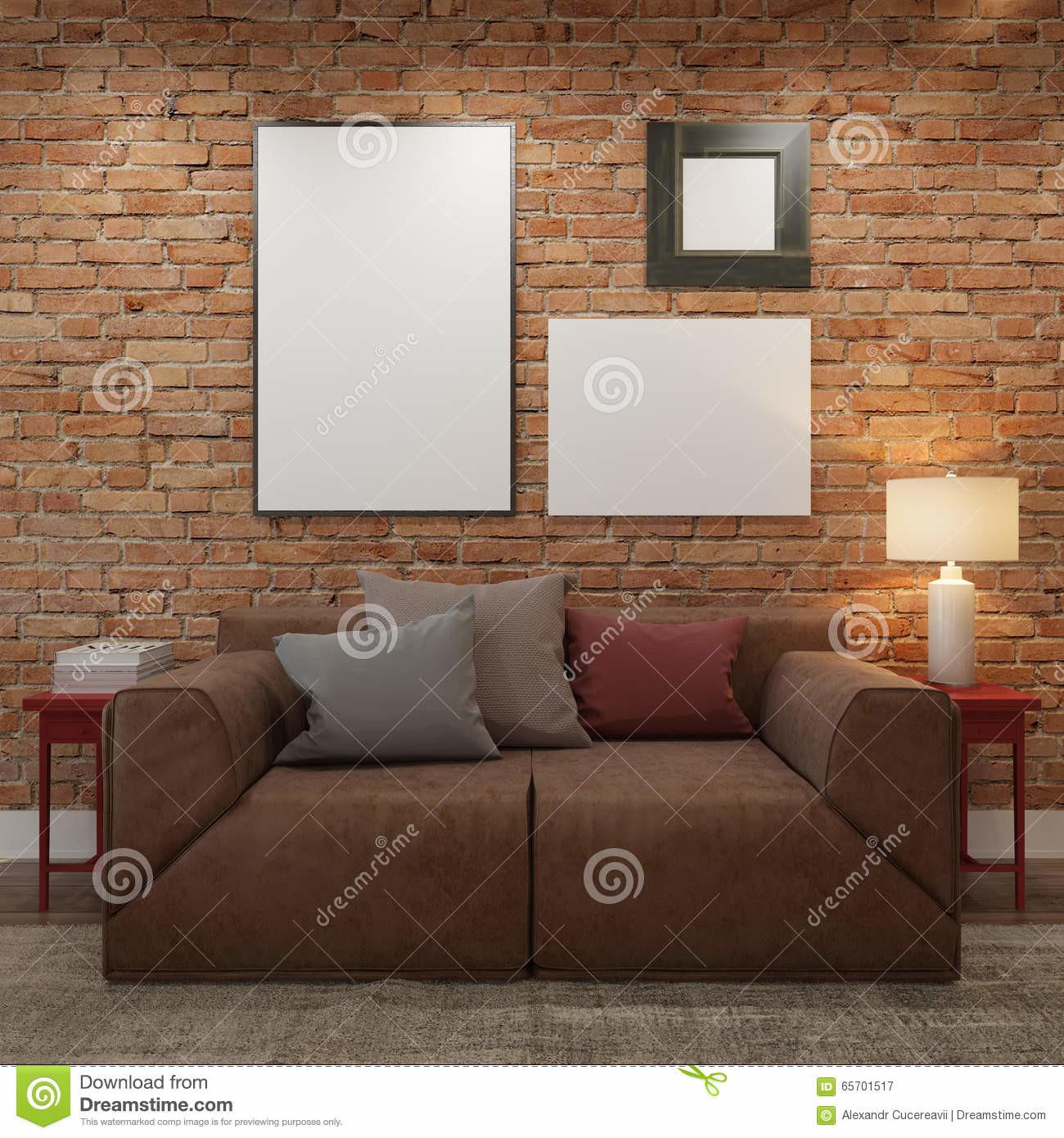 Mock Blank Posters Brick Wall Living Room