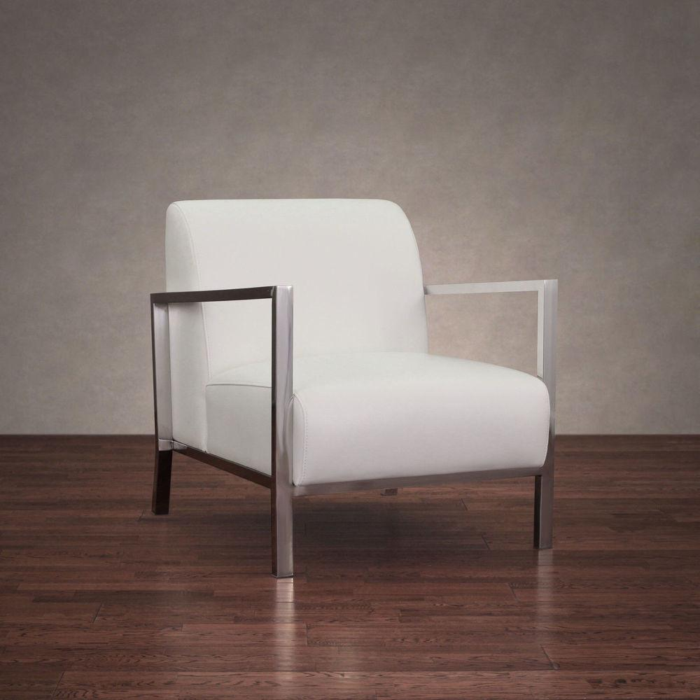 Modena Modern White Leather Accent Chair Home Decor