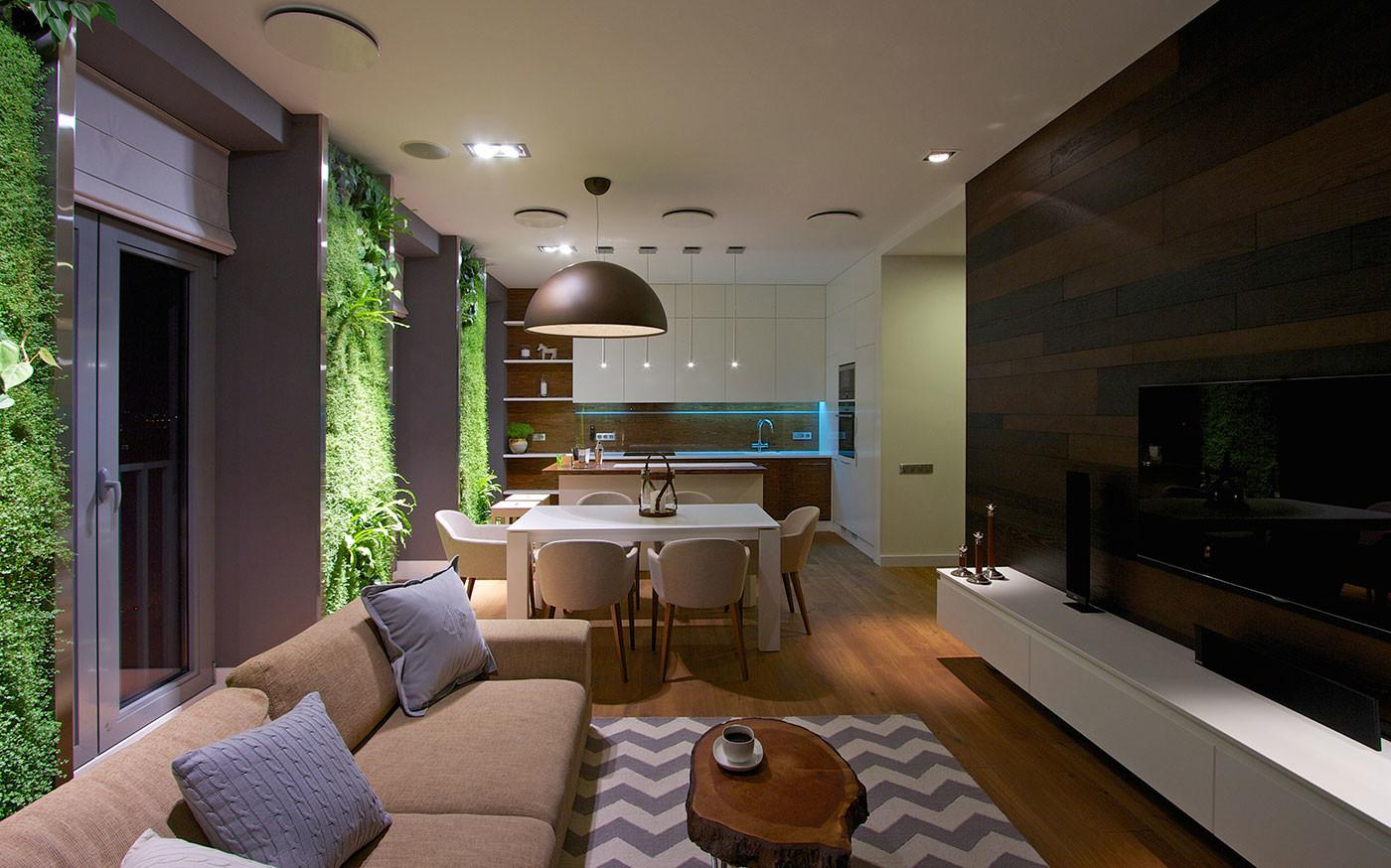 Modern Apartment Design Green Walls Svoya