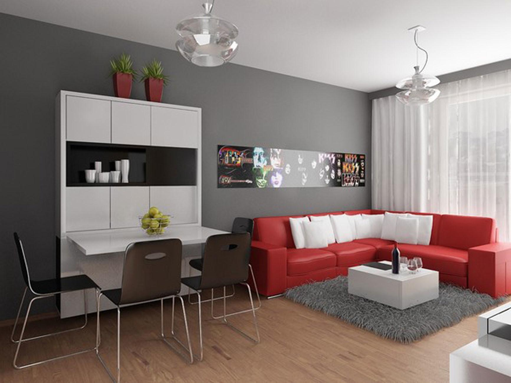 Modern Apartment Design Red Interior Ideas