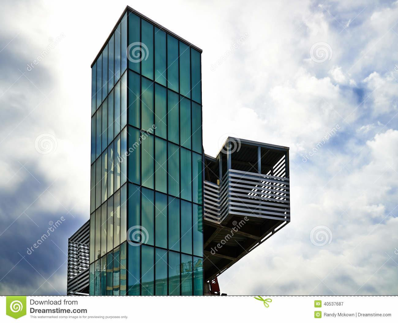 Modern Architecture Green Glass Elevator Stock