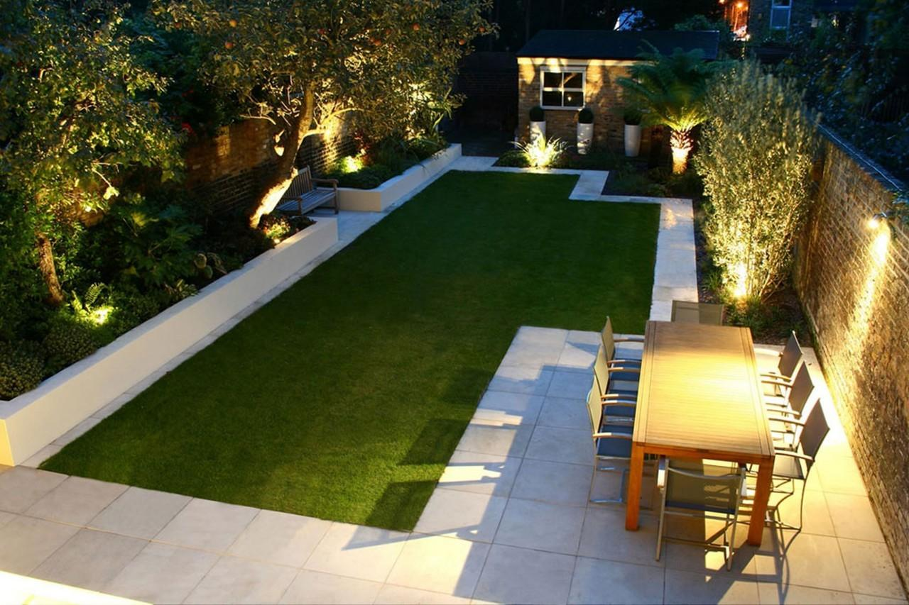 Modern Backyard Landscape House Design Green Grass