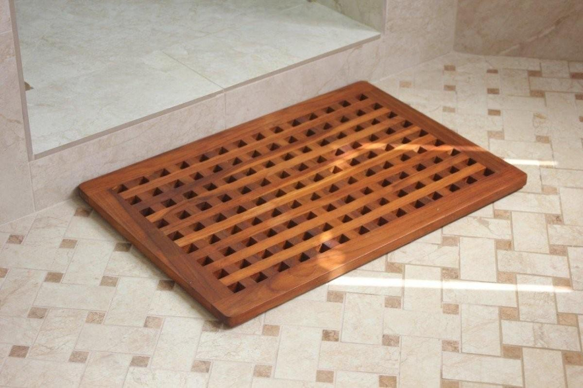 Modern Bathroom Grate Solid Teak Shower Spa Mat