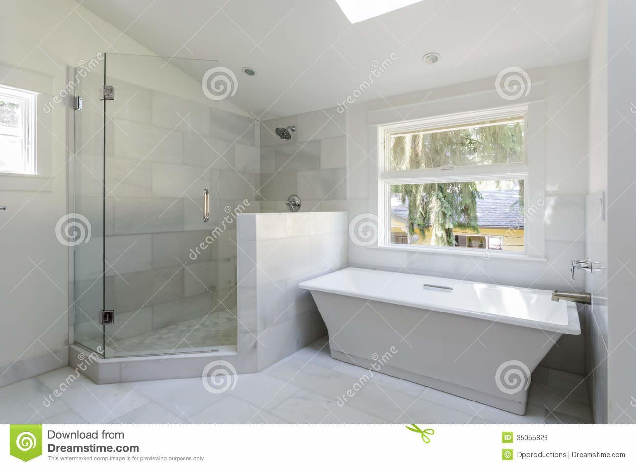 Modern Bathroom Shower Bathtub Stock