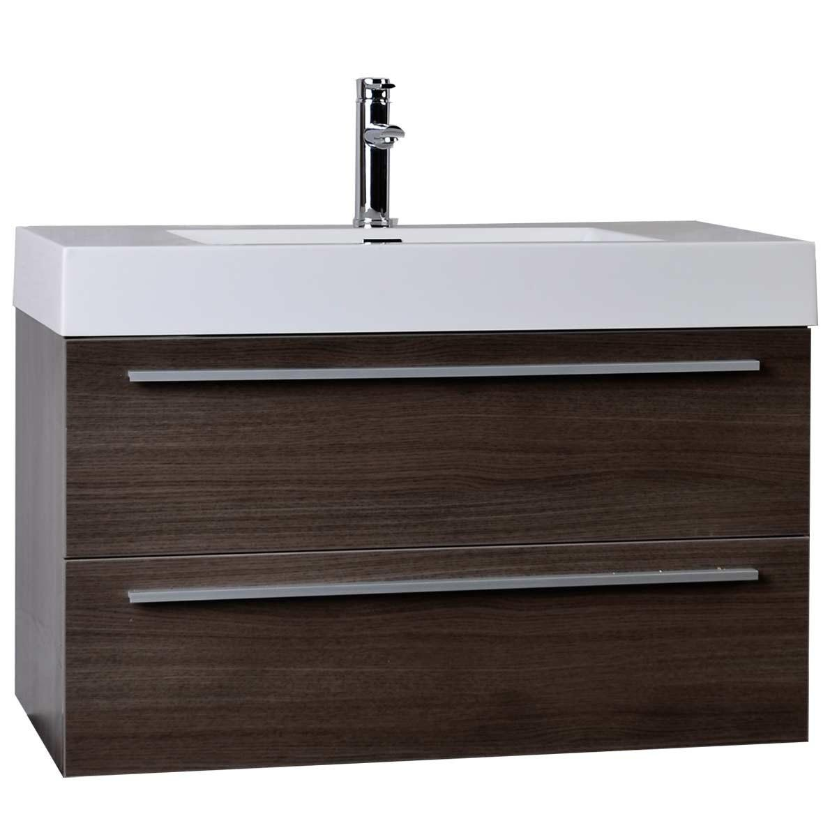 Modern Bathroom Vanity Grey Oak Wall Mount