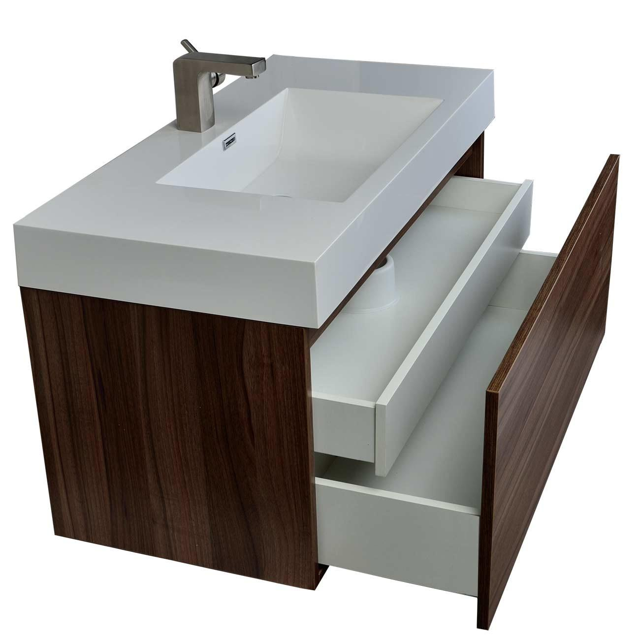 Modern Bathroom Vanity Walnut Finish A1000