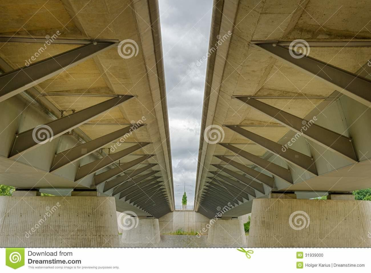 Modern Beam Bridge Structure Stock