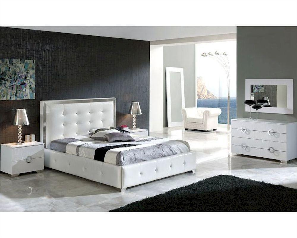 Modern Bedroom Set Valencia White Made Spain 33b241