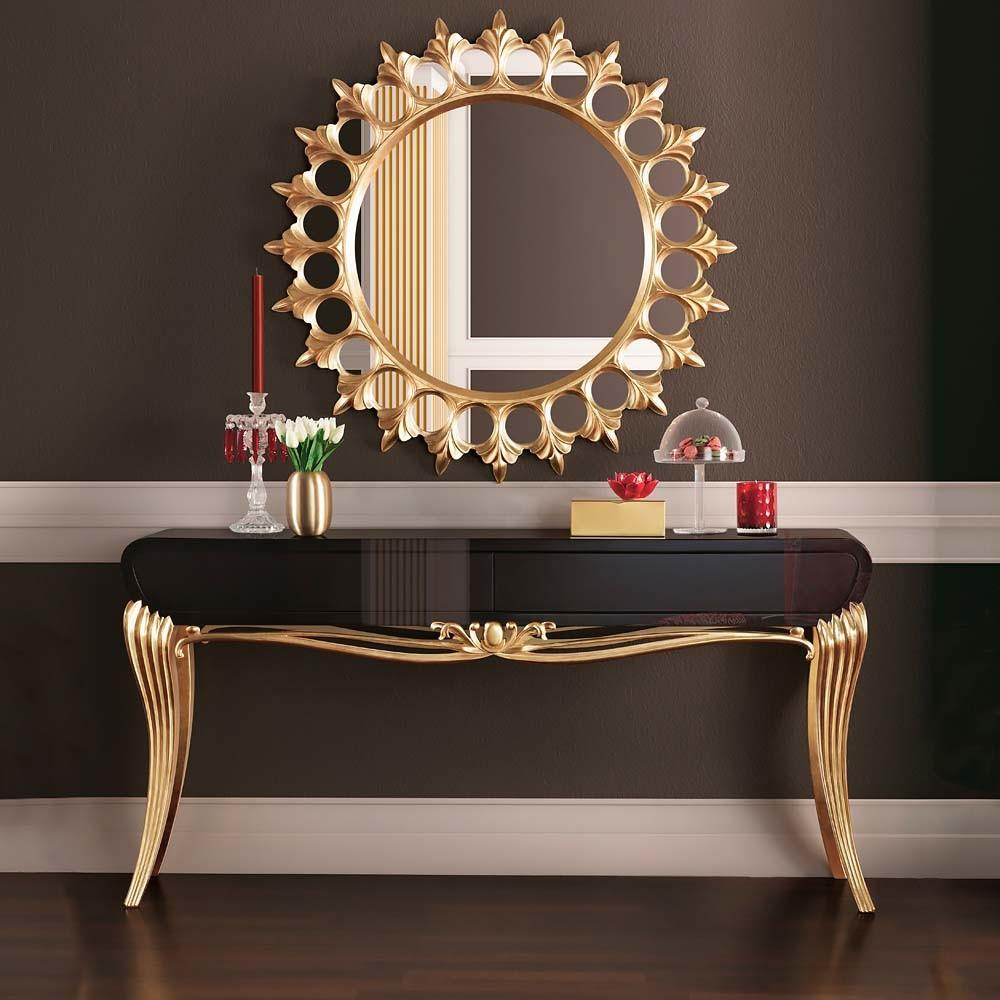 Modern Black Lacquered Gold Leaf Console Table Juliettes