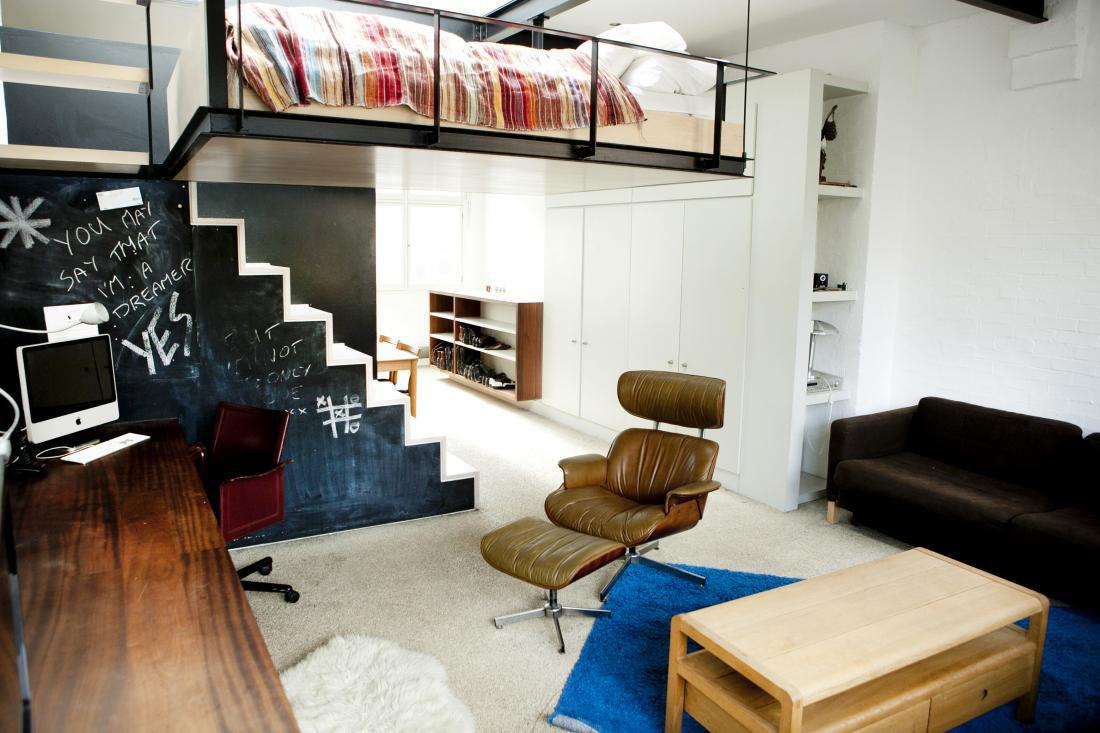 Modern Bohemian Studio Flat Suspended Bed