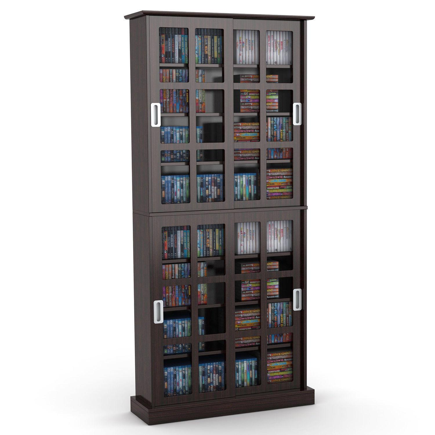 Modern Bookcase Cabinet Media Wood Glass Contemporary