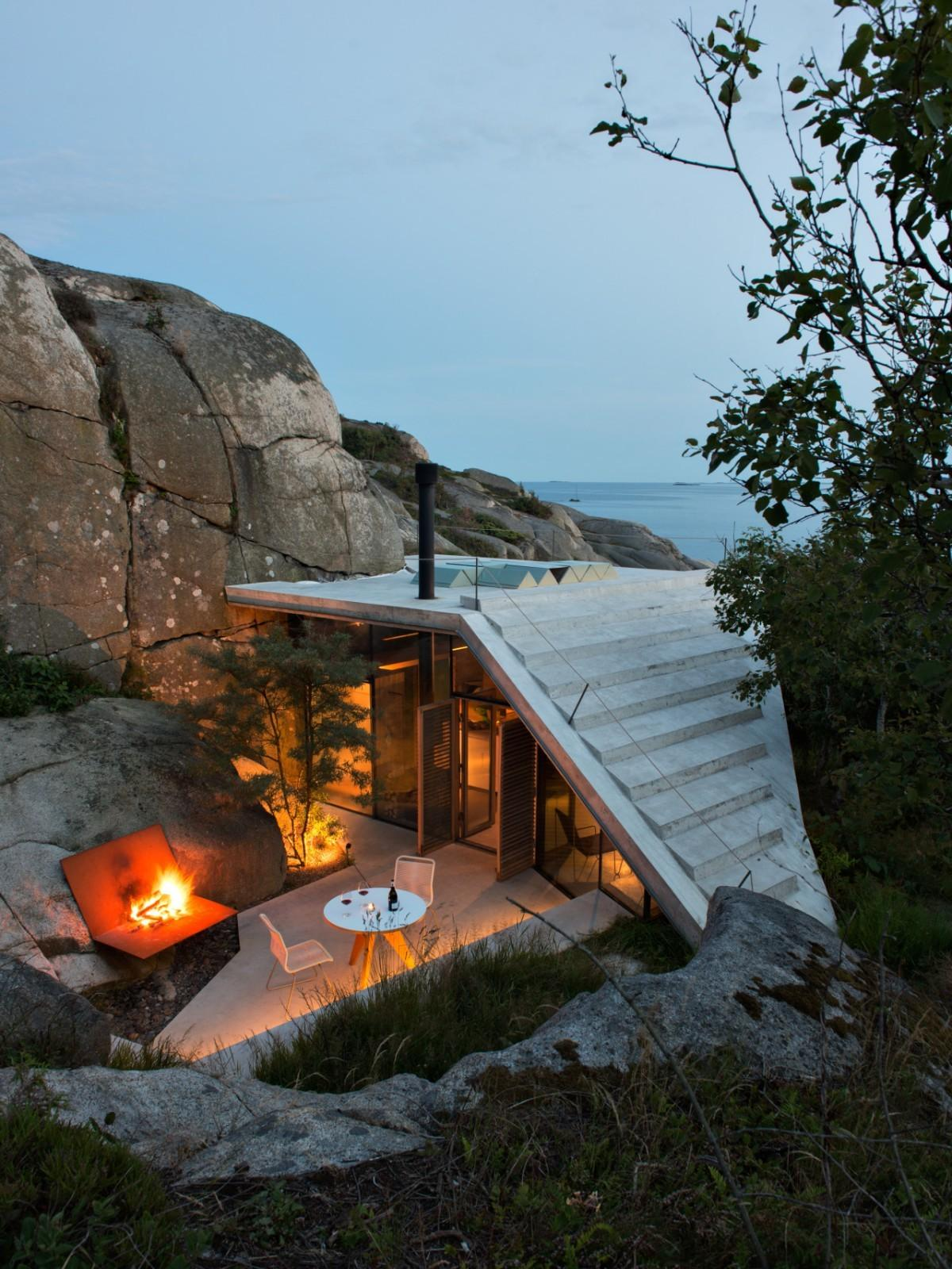 Modern Cabin Tucked Into Rocky Norwegian Coastline