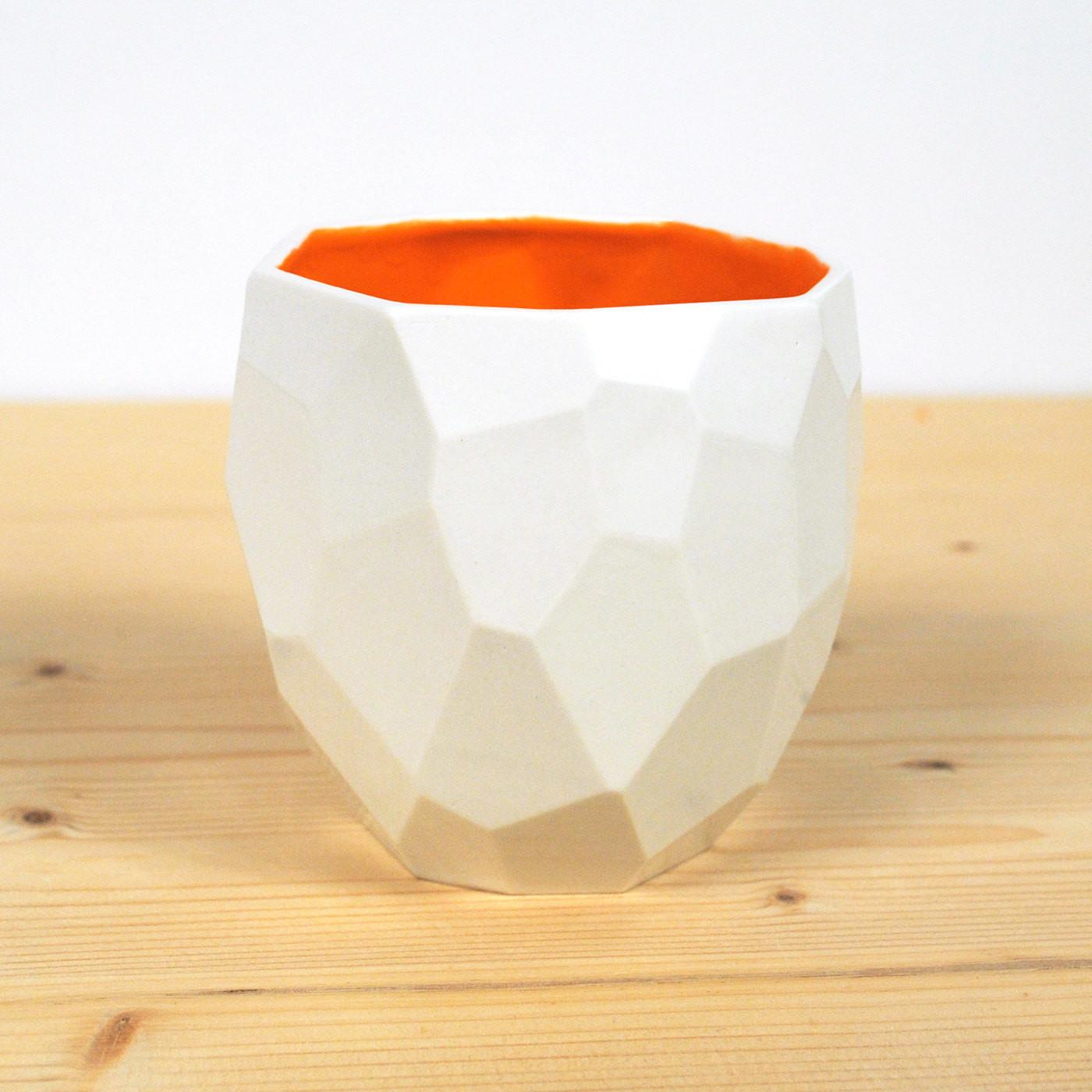 Modern Ceramic Cup Handmade Polygons Facetted Design
