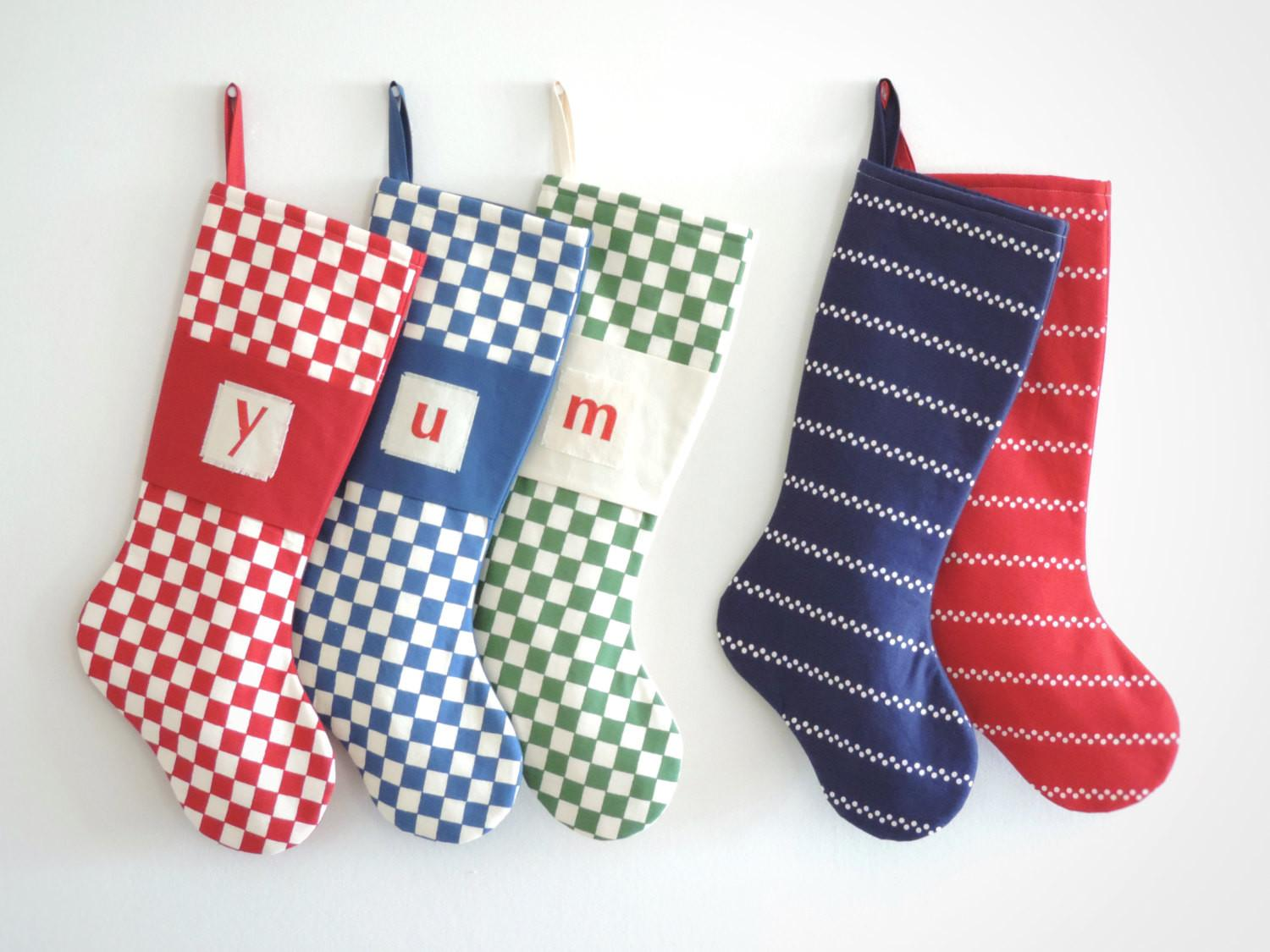 Modern Christmas Stocking Personalized