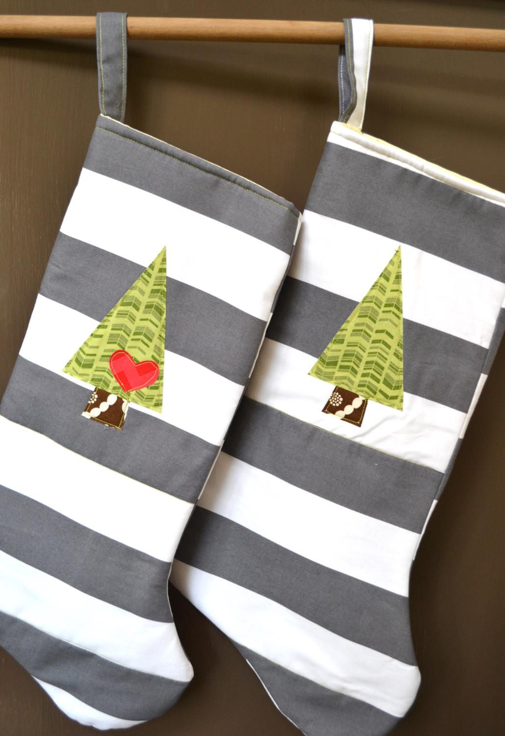 Modern Christmas Stockings His Hers Set Two Gray