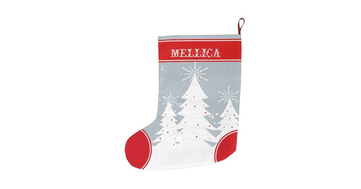 Modern Christmas Trees White Gray Red Large