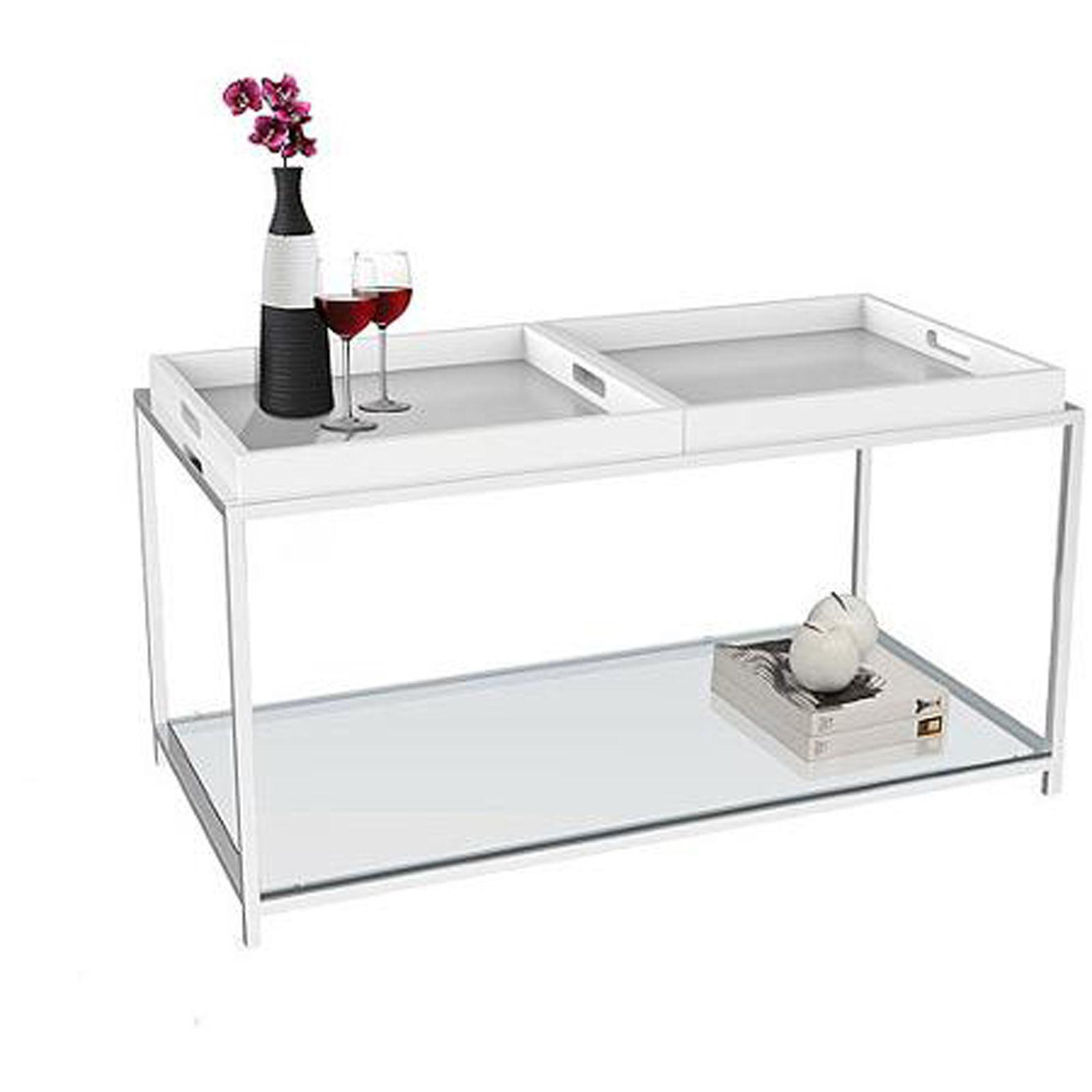 Modern Coffee Table Glass Top White Serving Trays