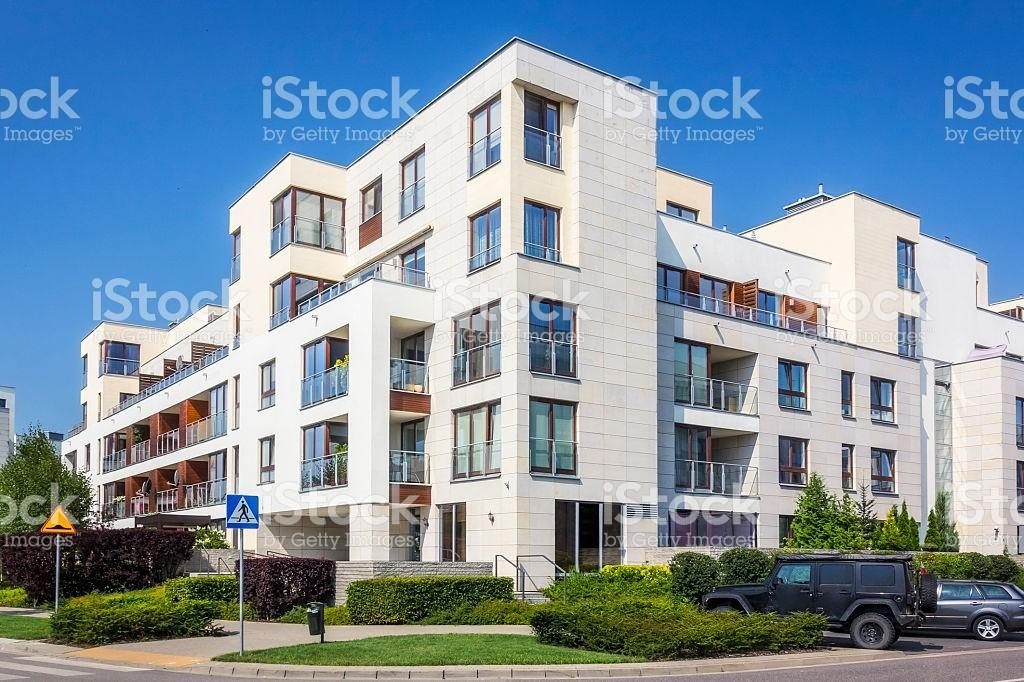 Modern Complex White Apartment Buildings Warsaw Stock