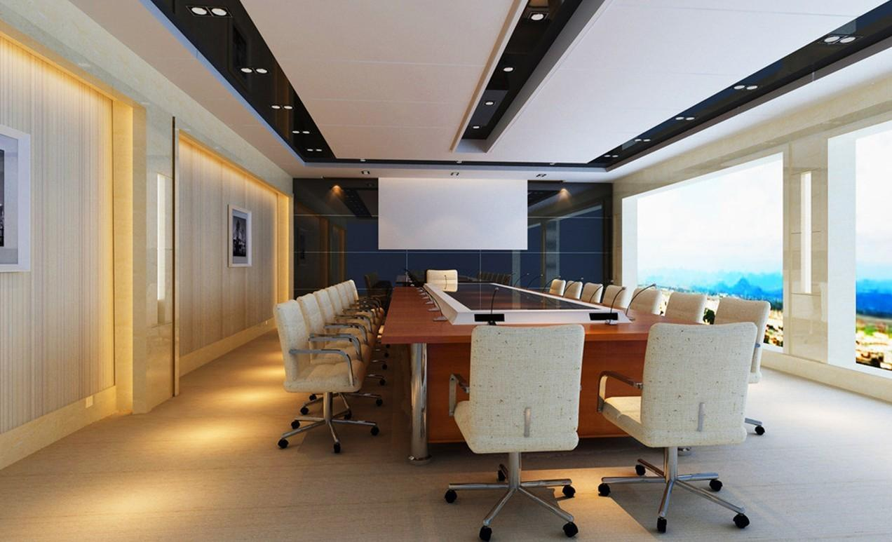 Modern Conference Table White Home Office Workspace
