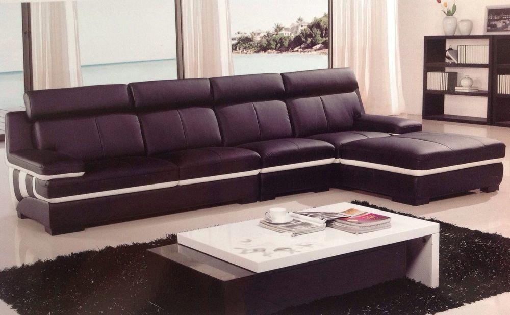Modern Contemporary Black White Leather Sectional Sofa