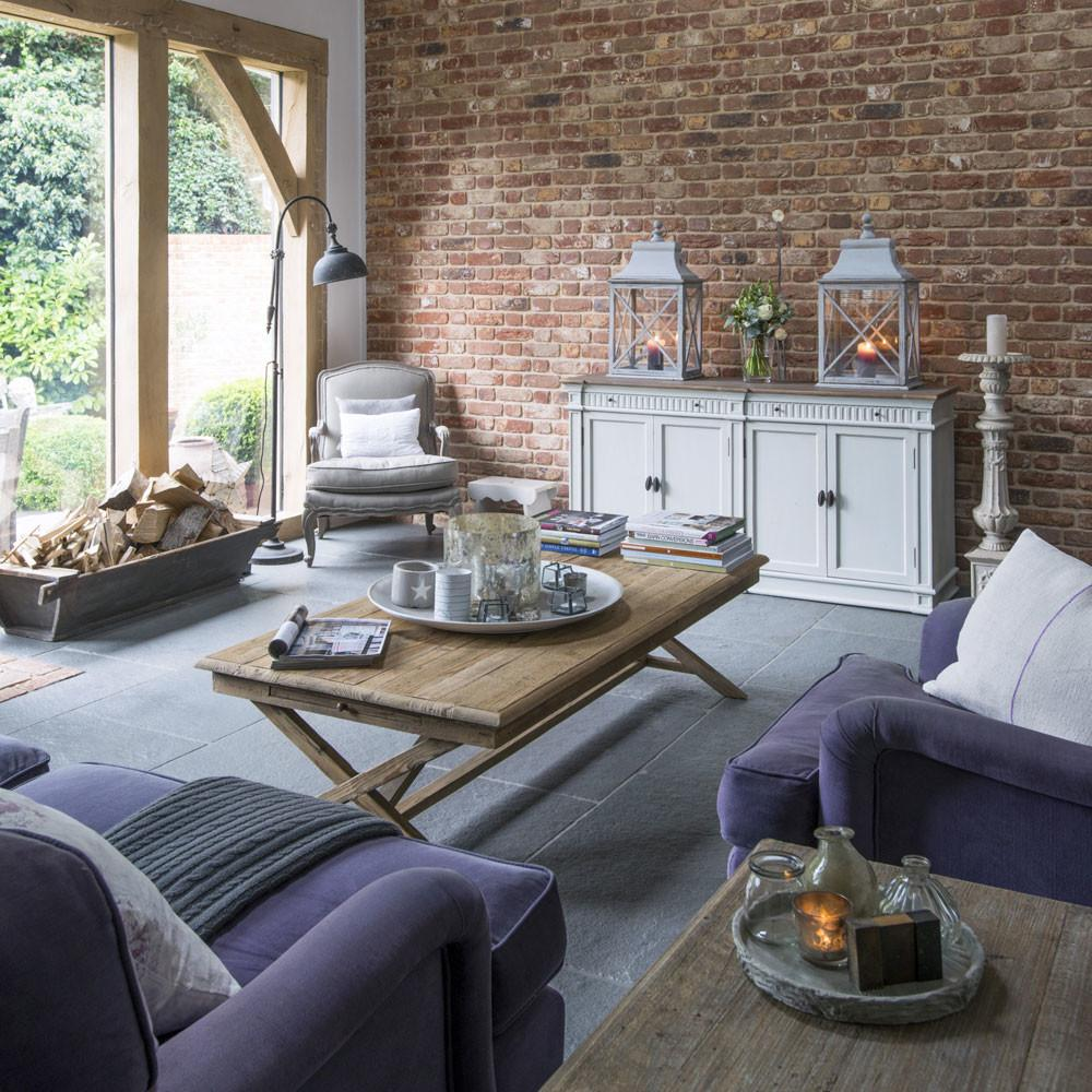 Modern Country Living Room Exposed Brick Wall