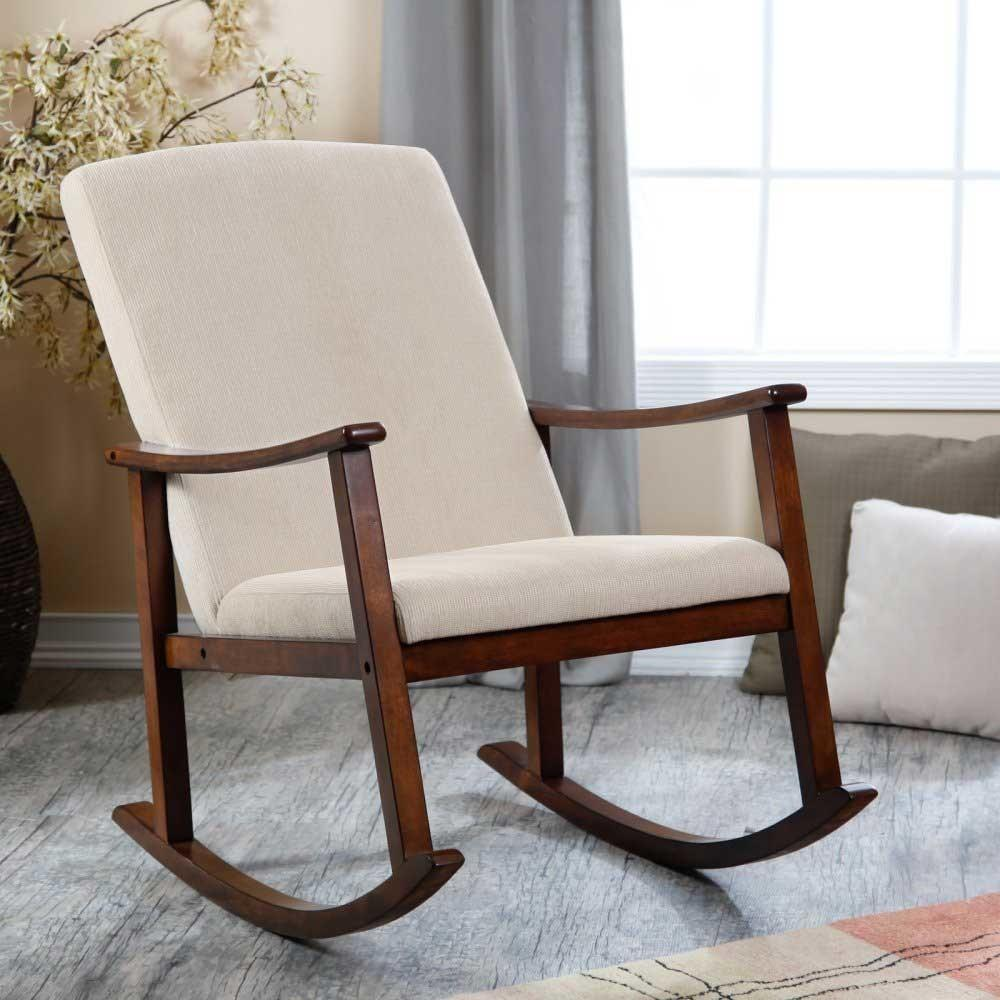 Modern Design Wooden Rocking Chair Thick Seat