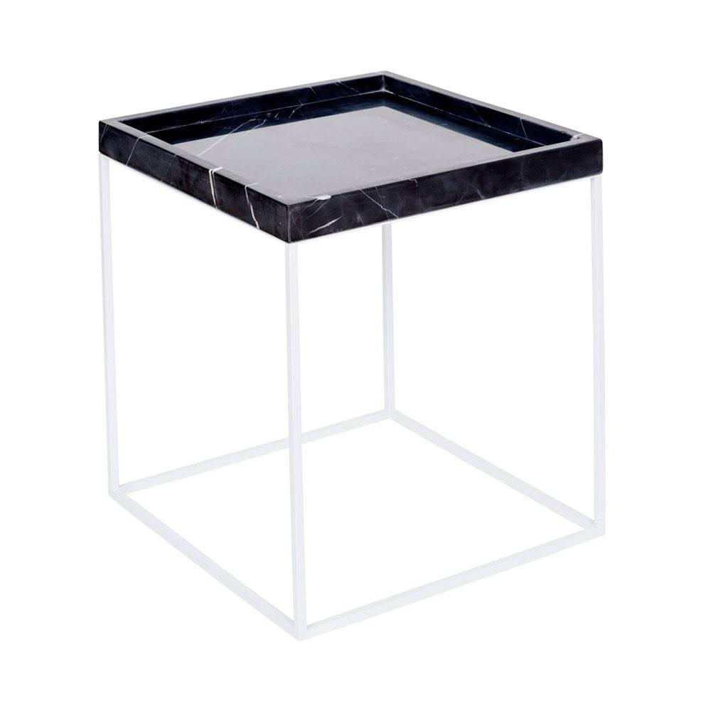 Modern Designer Black Marble Tray Side Table White Steel