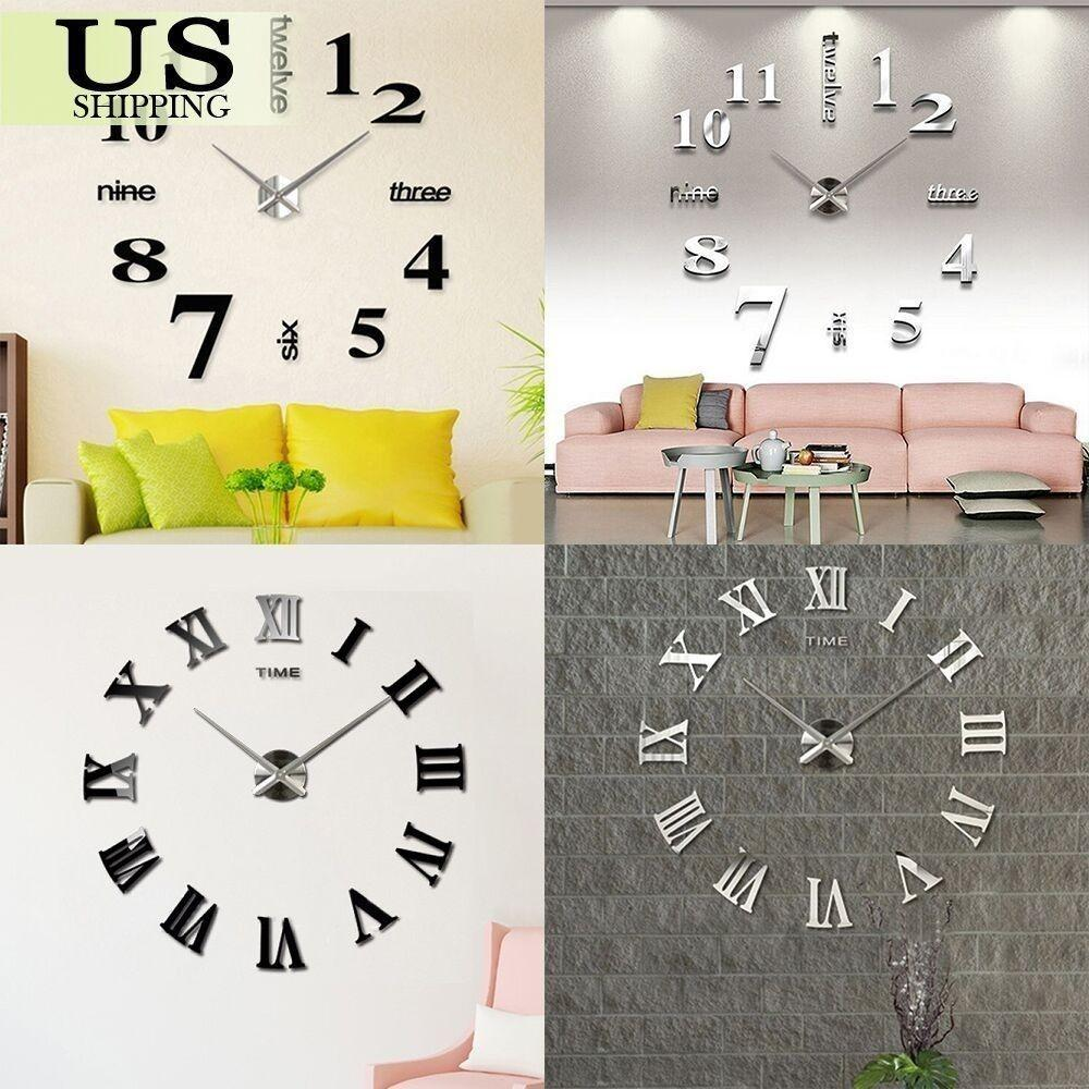 Modern Diy Large Wall Clock Kit Mirror Surface Sticker
