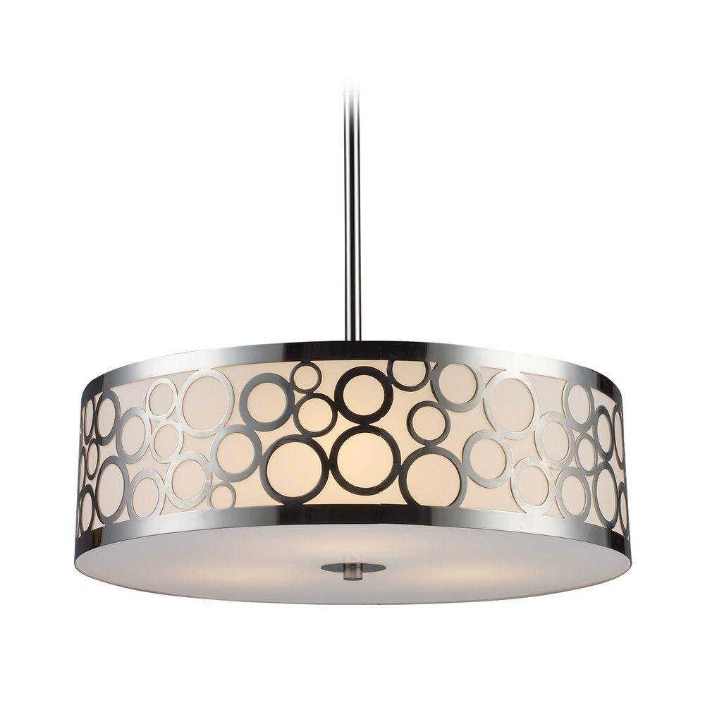 Modern Drum Pendant Light White Glass Polished