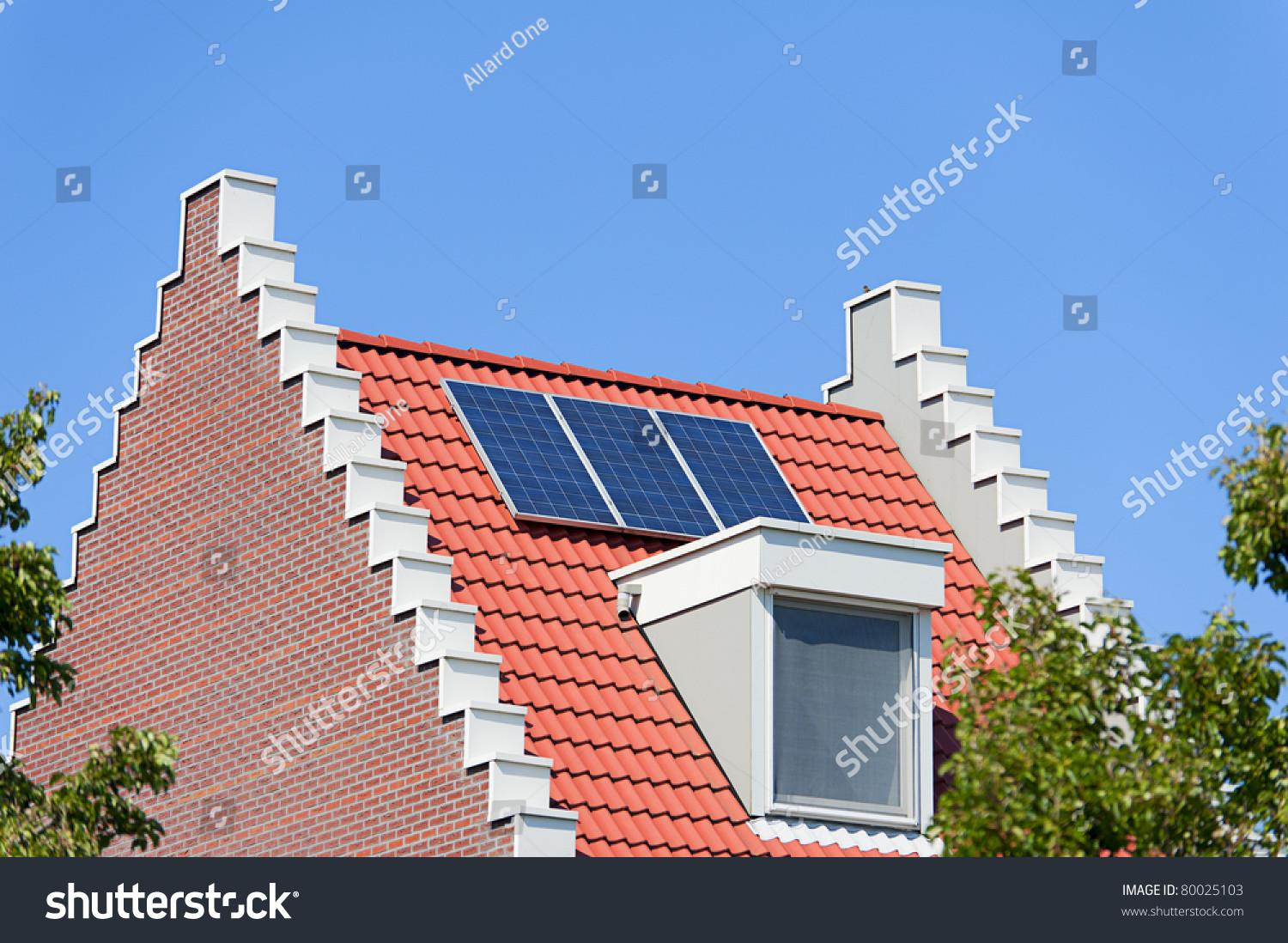 Modern Dutch House Solar Panels Stock