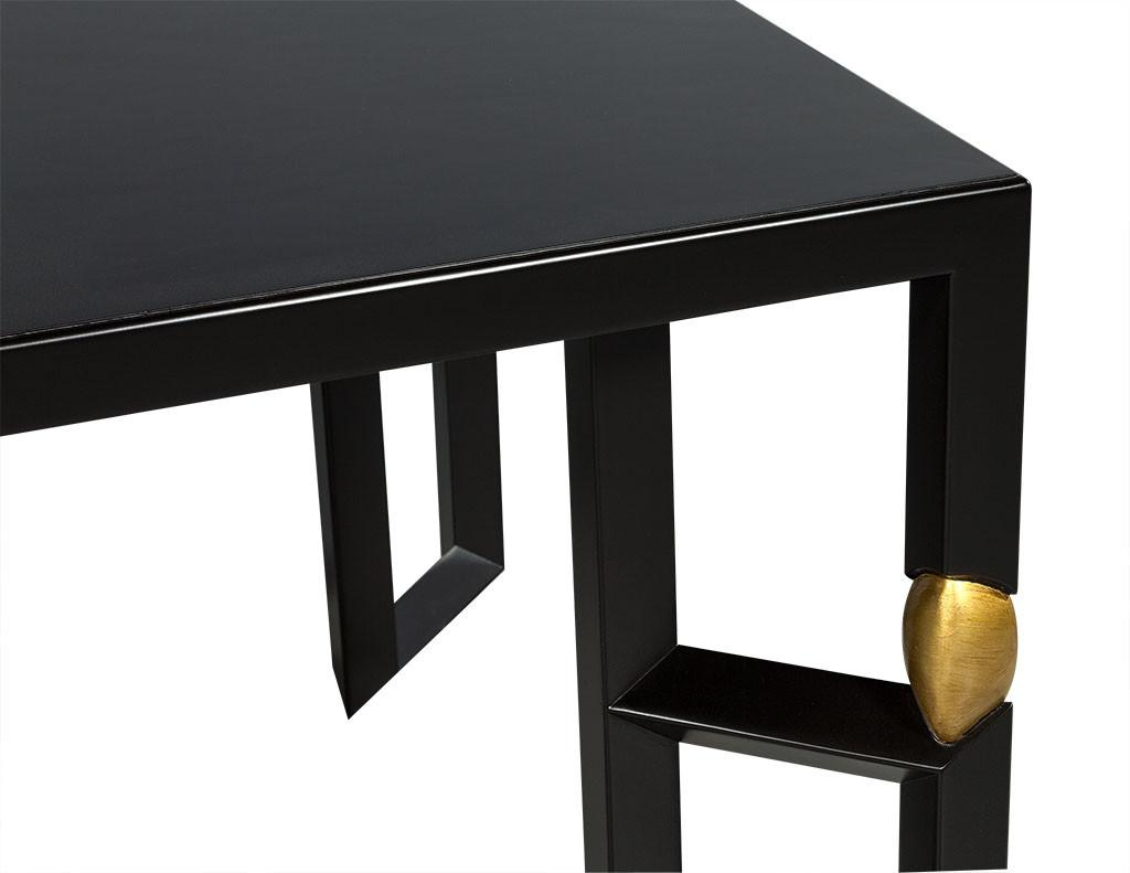 Modern Ebonised Dining Table Gold Leaf Accents