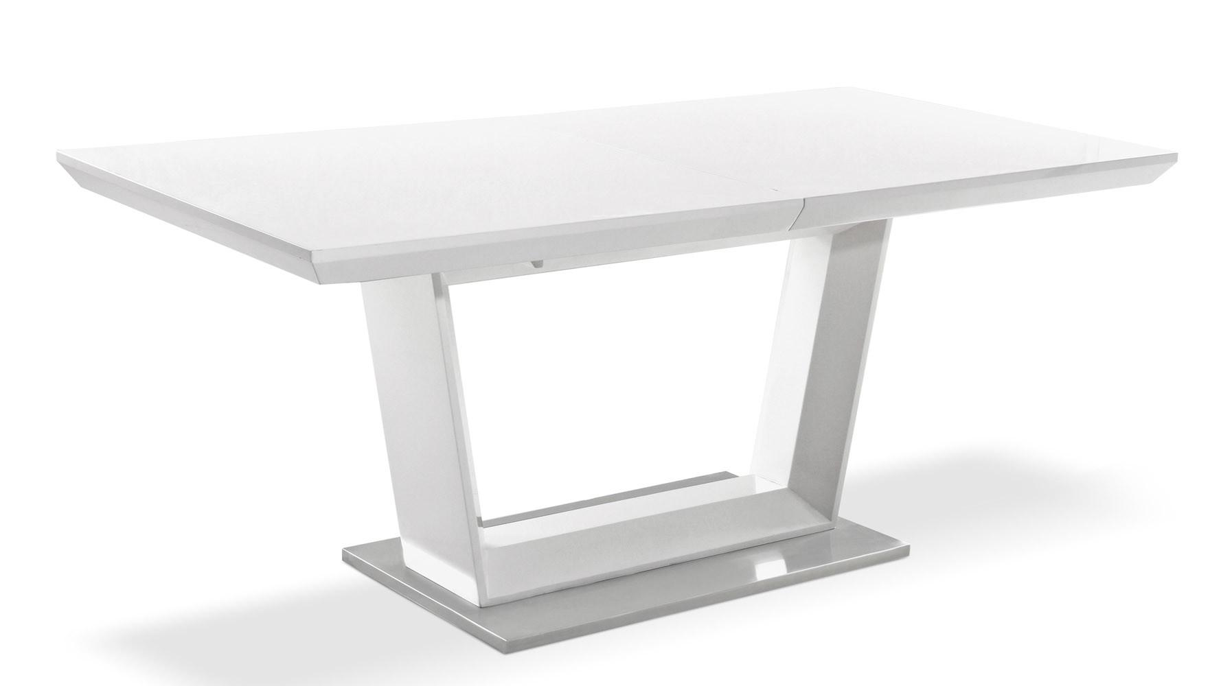 Modern Extending White Lacquer Stainless Steel Dining