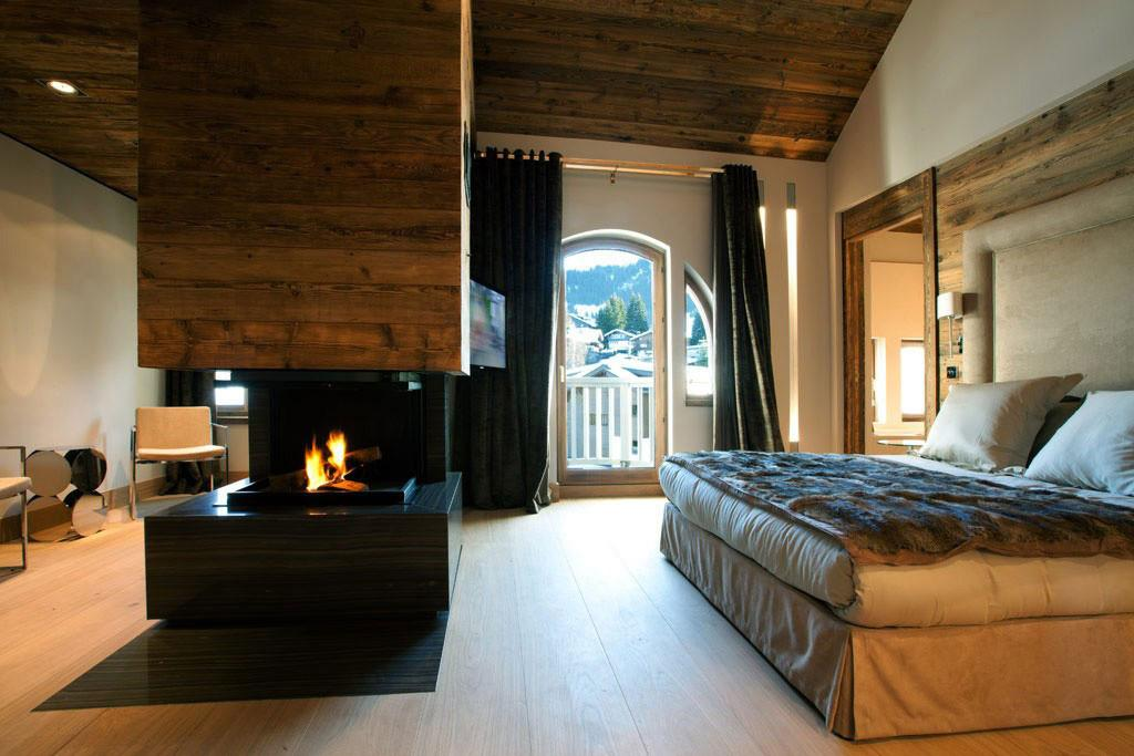 Modern Fireplace Bedroom Iced Winter Apartment Design