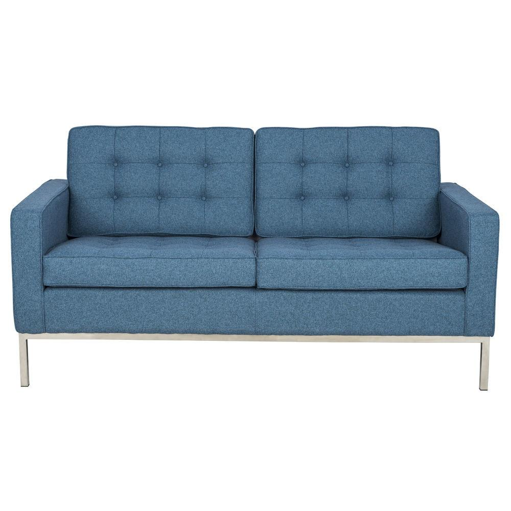 Modern Florence Style Loveseat Tufted Sofa Blue Twill
