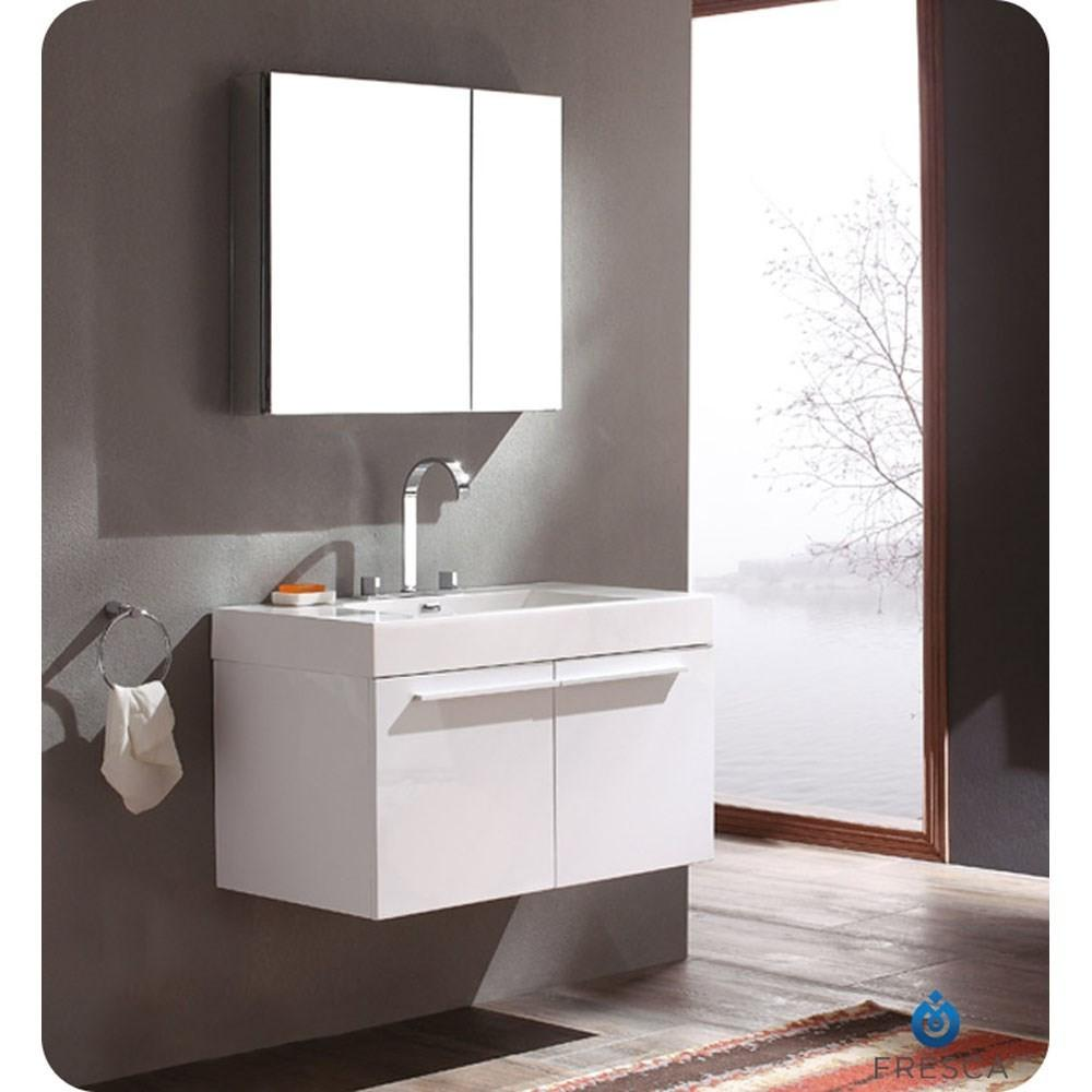 Modern Fresca Vista White Bathroom Vanity