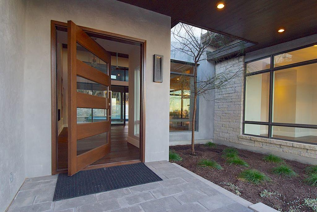 Modern Front Door Exterior Tile Floors Pathway