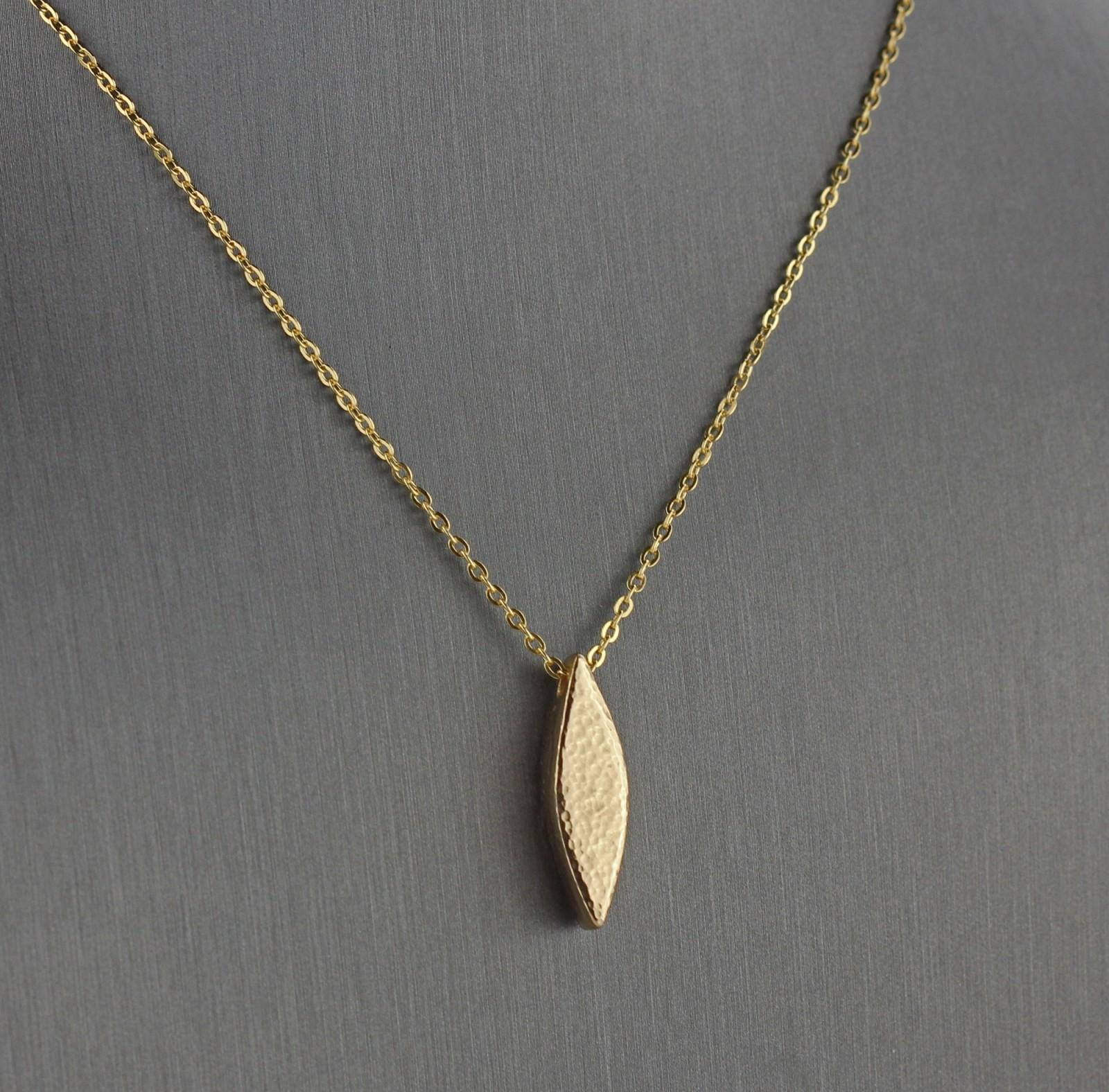 Modern Gold Petal Necklace Minimalist