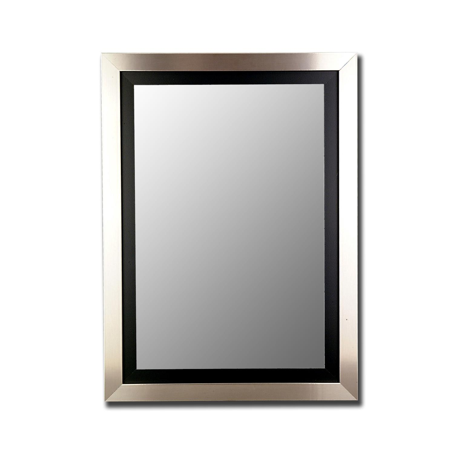 Modern Grand Silver Wall Mirror Satin Black Liner