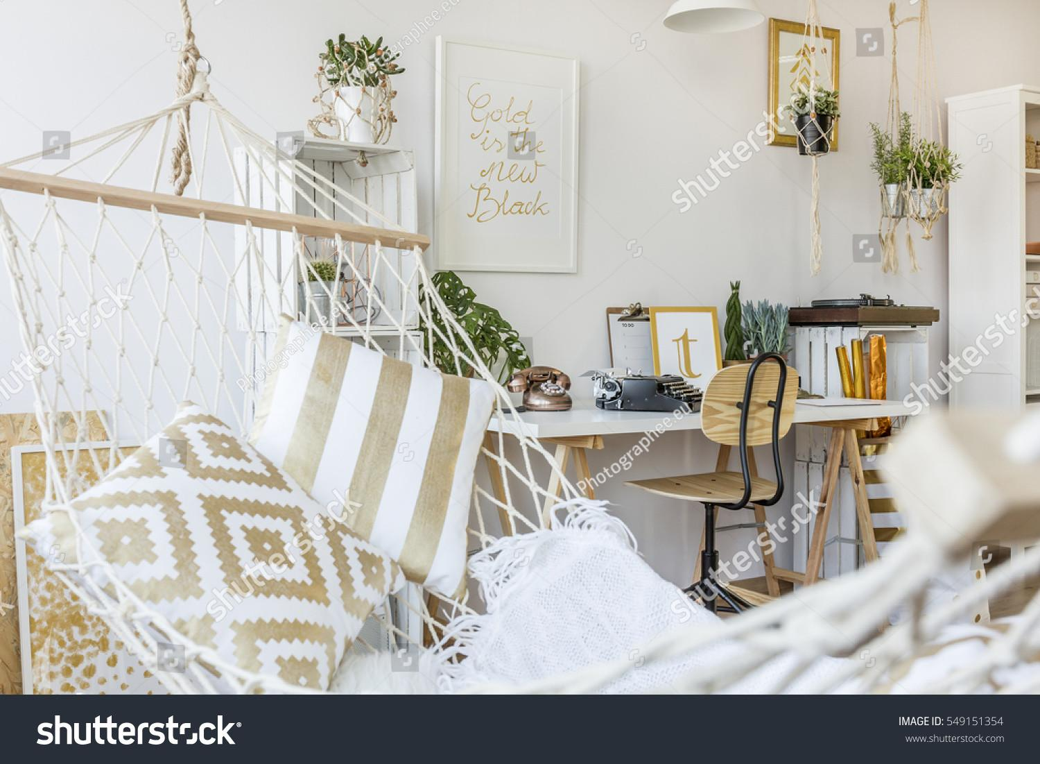 Modern Hammock Living Room Interior Stock