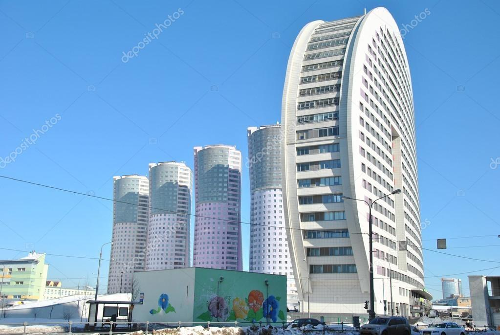 Modern High Rise Apartment Buildings Moscow Stock