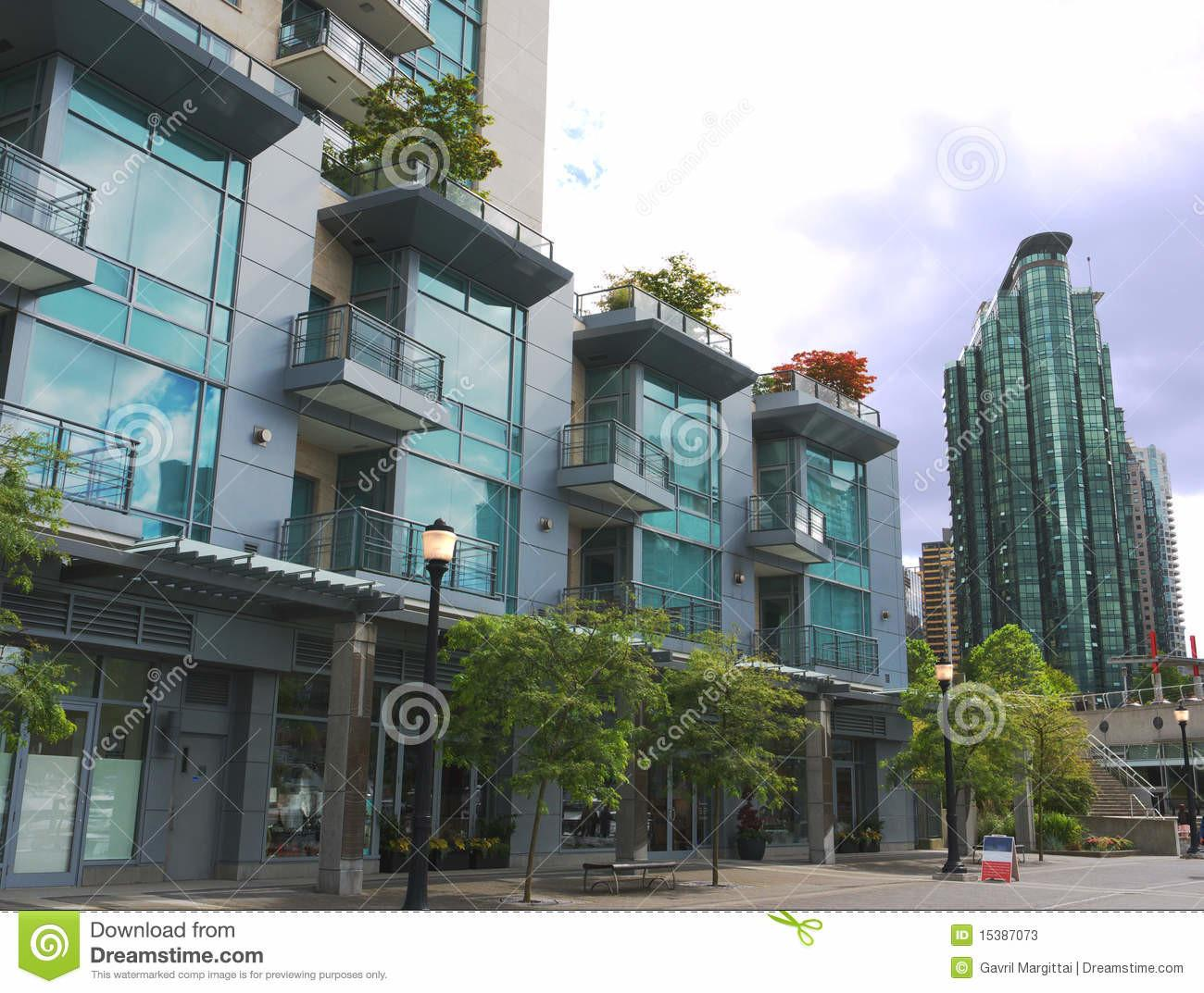 Modern High Rises Vancouver Downtown Stock Photos