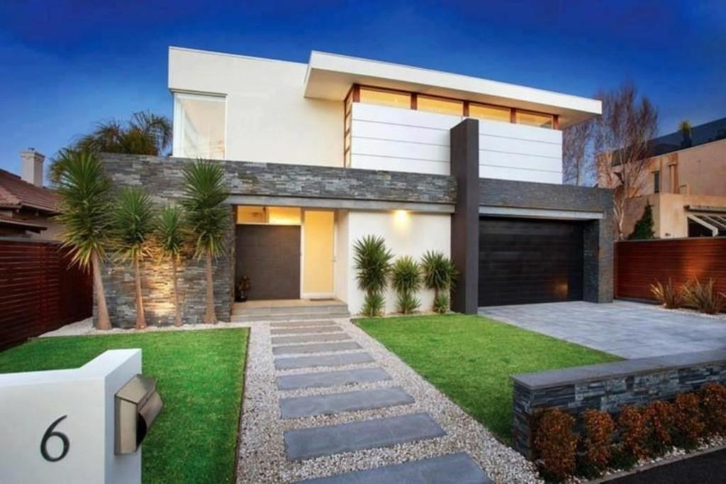 Modern Home Design Using Contemporary Front Yard Landscape