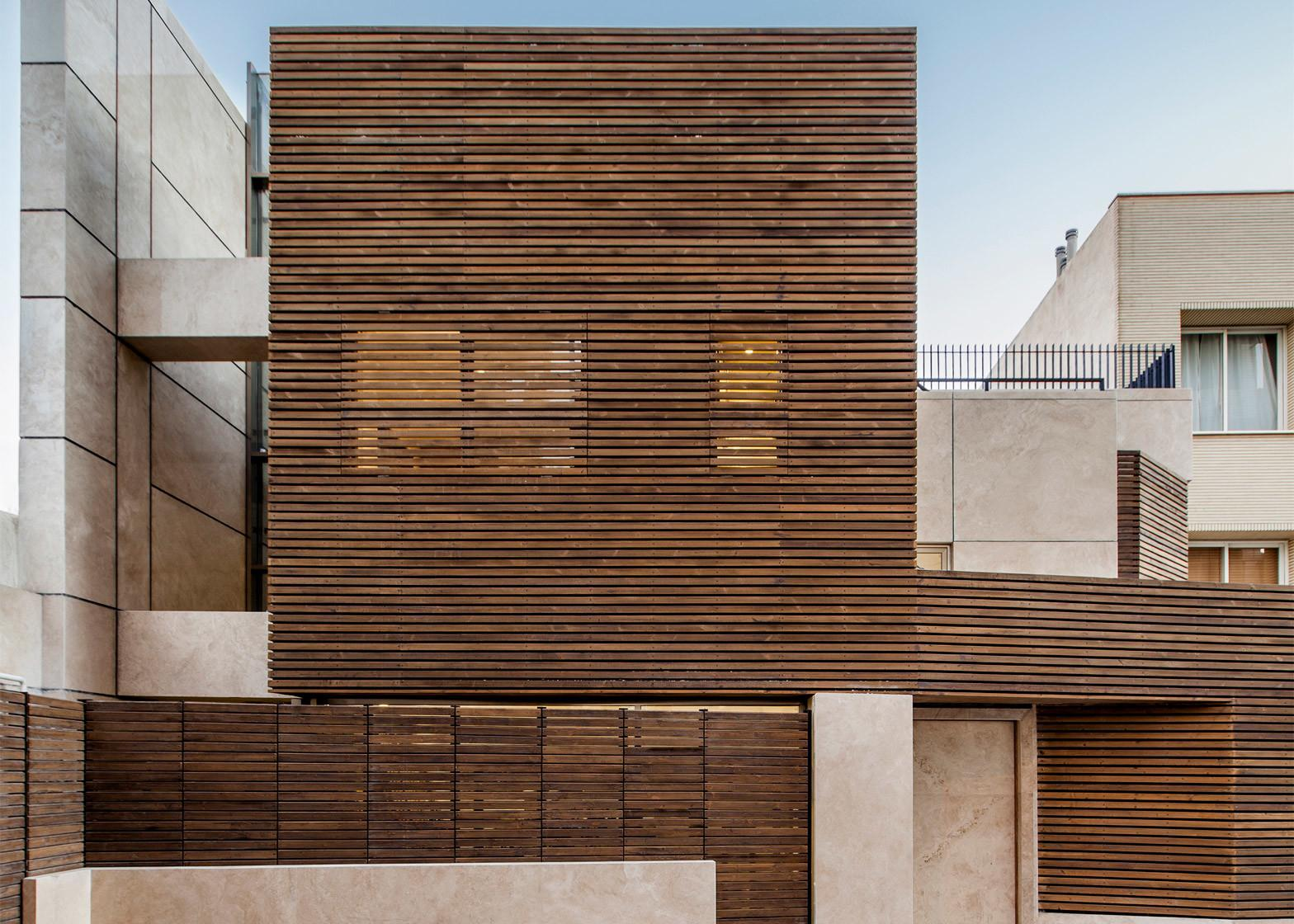 Modern Home Iran Features Striking Slatted Timber
