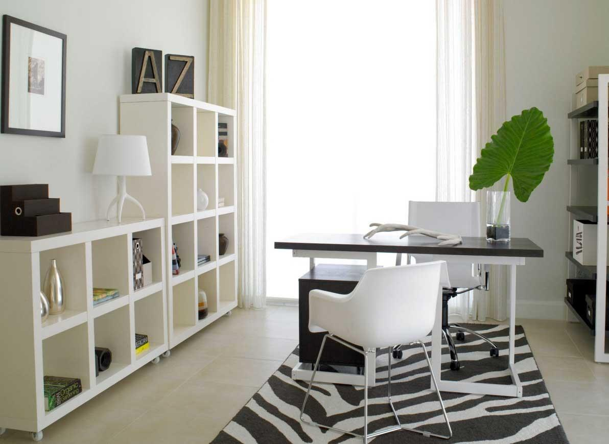Modern Home Office Design Black White Desk