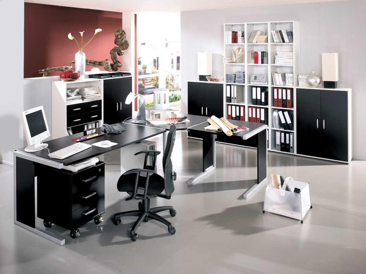 Modern Home Office Design Black White Furniture